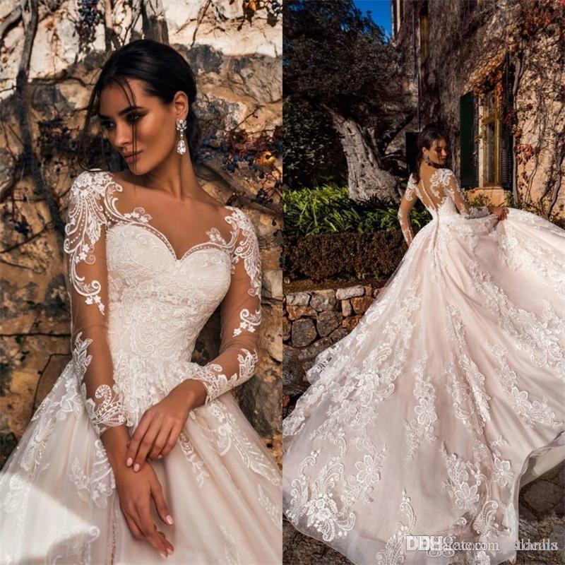 Heißer Verkauf Elegante a-line Brautkleider Spitze Schatz Lange Illusionshülsen Sweep Zug Hochzeitskleid Brautkleider Vestidos de Novi
