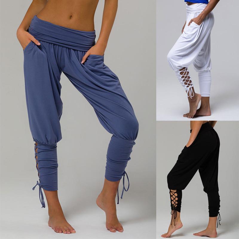 Sexy fitness más la ropa de los pantalones del tamaño grande para hacer deporte blanca polainas Mujeres Q1107