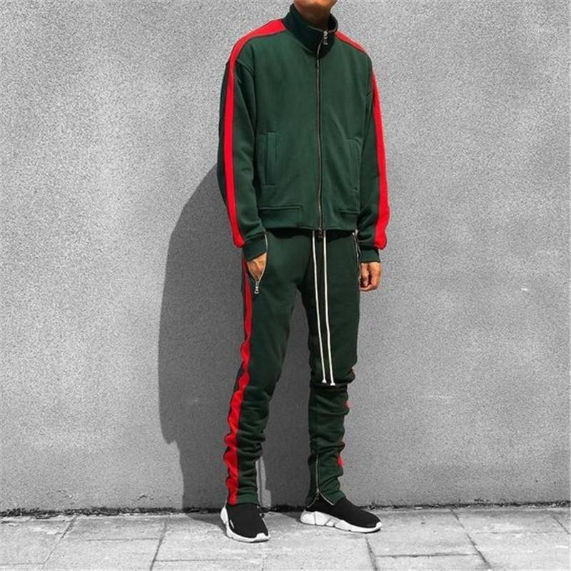 Eşofman Uzun Kollu Çizgili Panelli Cardgian Ceket Seti Sonbahar Kış Moda Rahat Erkek Giyim Yeni Erkek Tasarımcı