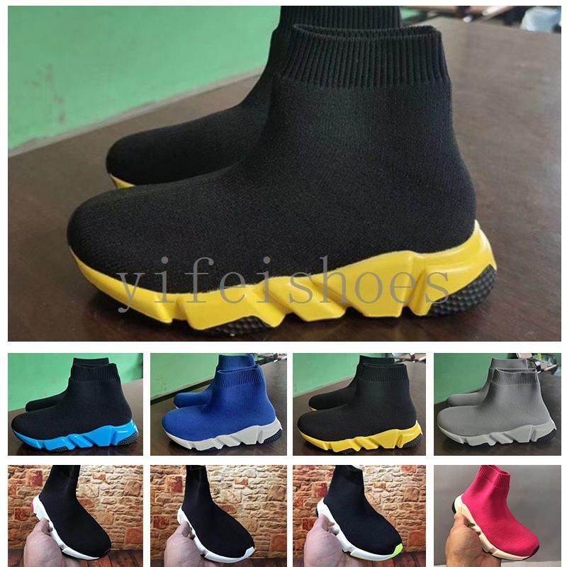 BaLenciaga 2020 Mode enfants Chaussettes Bottes enfants Chaussures Entraîneur Casual Flats Vitesse Sneaker Garçon Fille Haut-Top Chaussures de course Noir Blanc 24-35 B