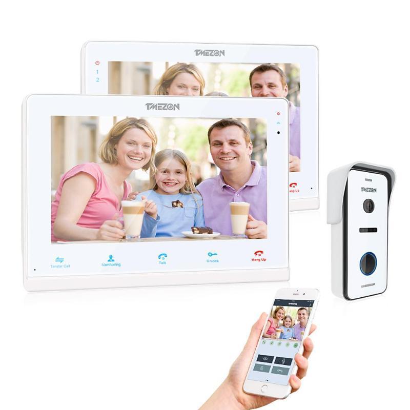 TMEZON Wireless / Wi-Fi Smart IP видеодомофон дверной звонок, 10-дюймовый + 7-дюймовый экран монитора с 1x720P проводной телефон двери камеры