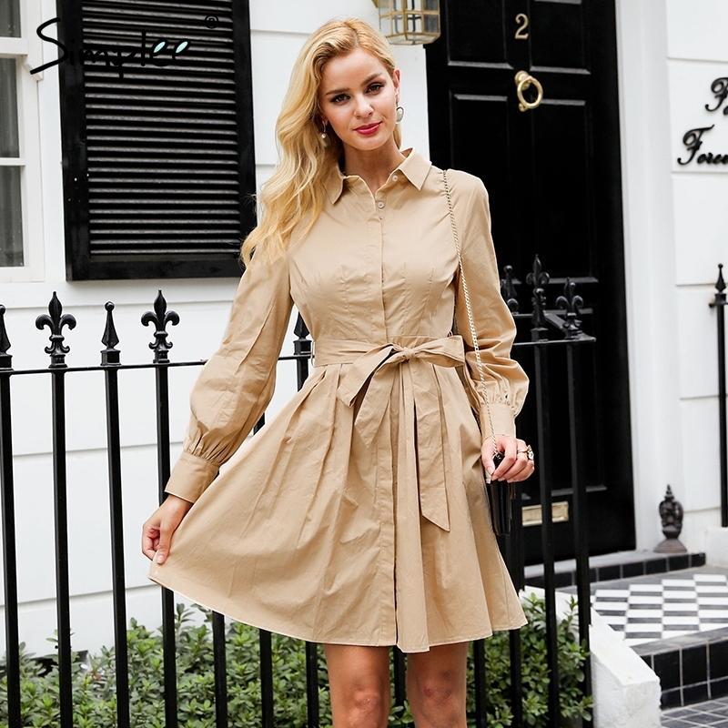Simplee Pileli yüksek bel kadın Vintage ofis bayan beyaz elbiseler uzun kollu pamuklu Sonbahar kış elbise gömlek 201.027 elbise