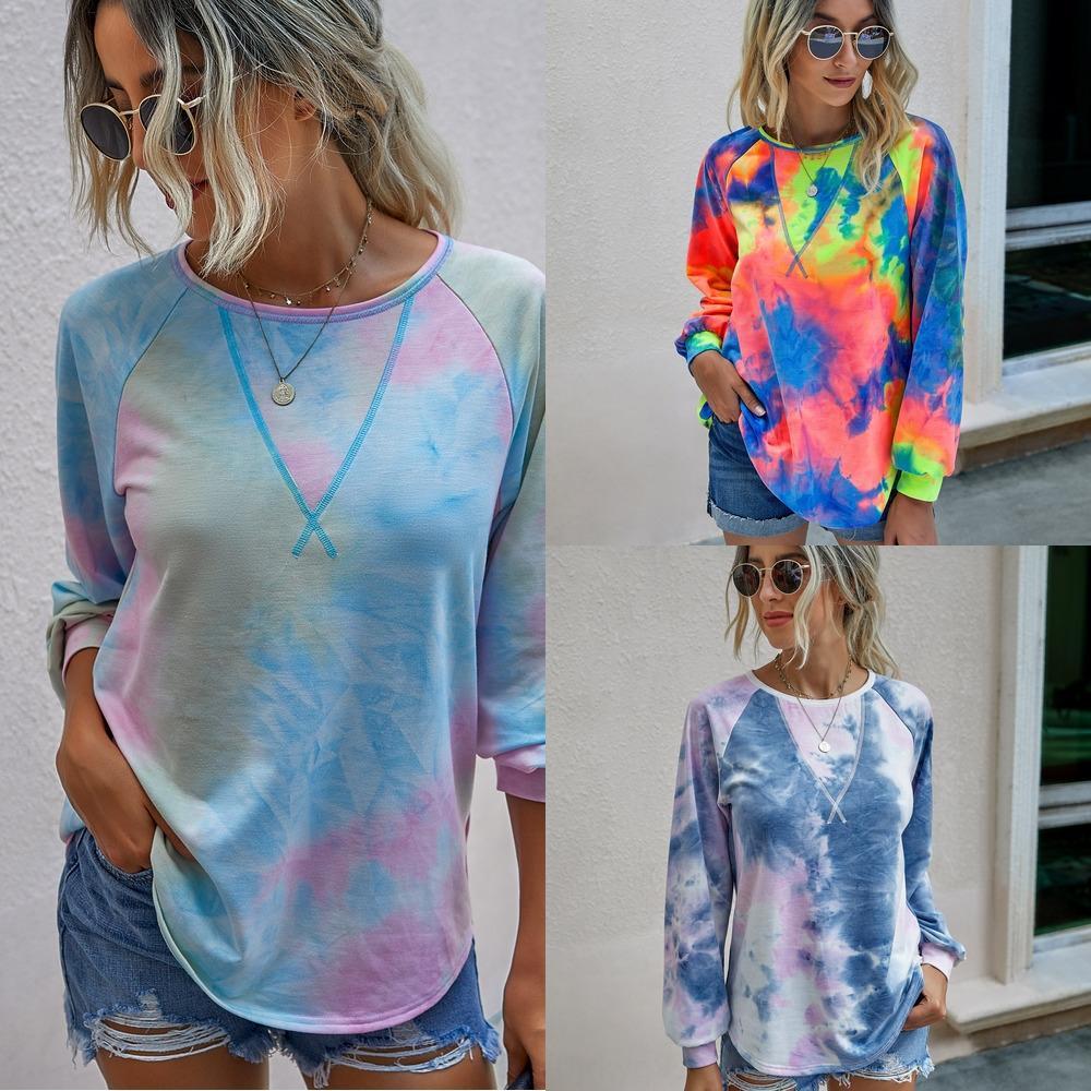 otoño invierno 2020 moda lazo alrededor del cuello de tinte invierno wy203s4084 otoño de las mujeres suéter manga larga 2020 lazo de la manera tinte cuello redondo larga Slee