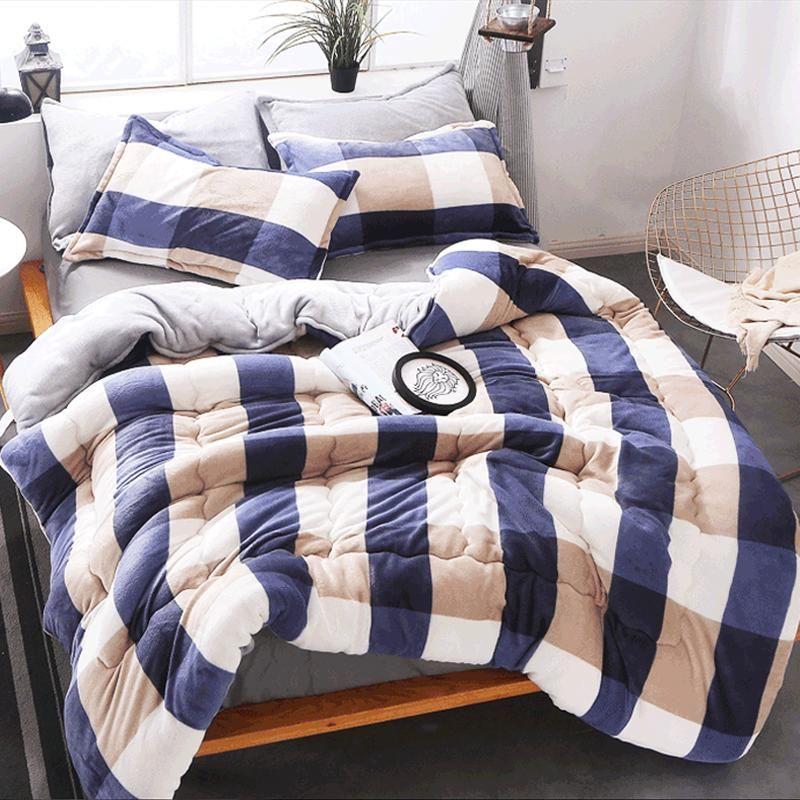 Twin / Queen / King size Patchwork starke warme Steppdecke Duvet Luxus Printed Winter-Lamm Kaschmirdecke gesteppt Bettwäsche Tröster