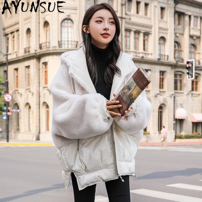المرأة الفراء فو معطف الخريف الشتاء الصوف سترة امرأة 90٪ بطة بيضاء أسفل السترات المتضخم الملابس الأزياء 2021 abrigo موهير pph1990