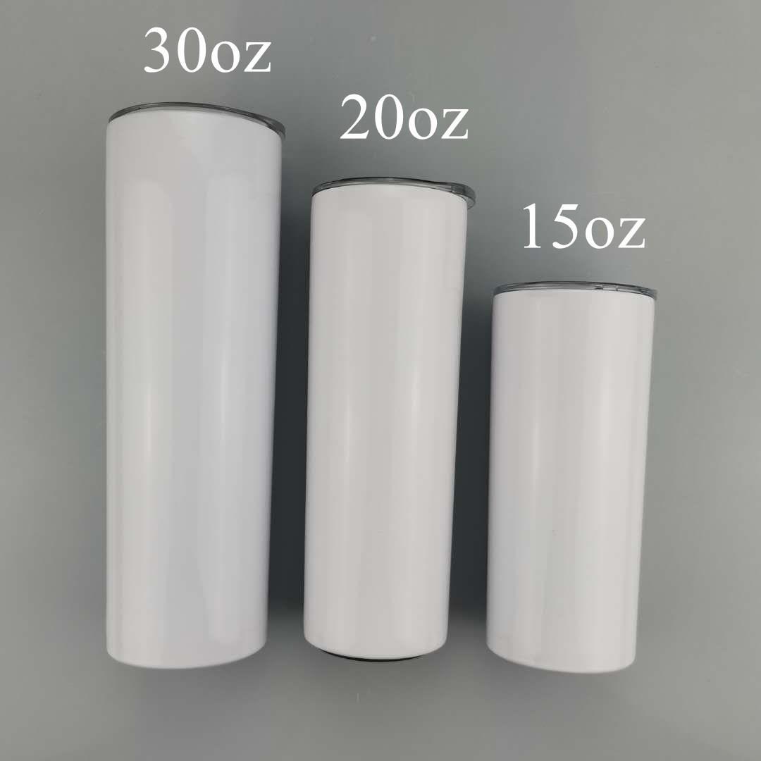 Sublimação magro Tumbler 15 onças 20 onças 30 onças em branco Aço Inoxidável Double Wall Tumbler Vacuum Coffee Cup Branco Caneca A02
