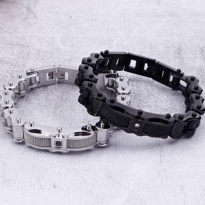 Ссылка, цепь черная из нержавеющей стали мотоцикл байкер браслет мужской хип-хоп запястья браслеты мужские ручные украшения подарки для друзей1