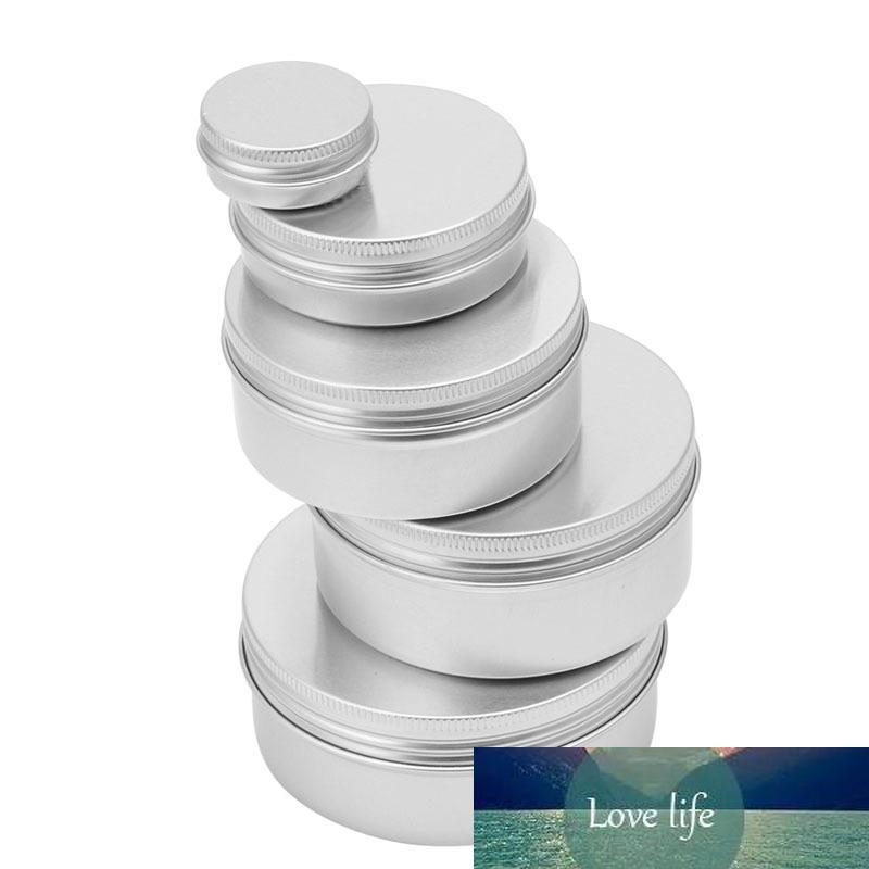 Leere robuste Aluminium-Kosmetik-Topf-Lippen-Balsam-Gefäßbehälter Ölwachs nachfüllbare Flaschen 5pcs / lot 10 ml-200ml Silber heiße Mode