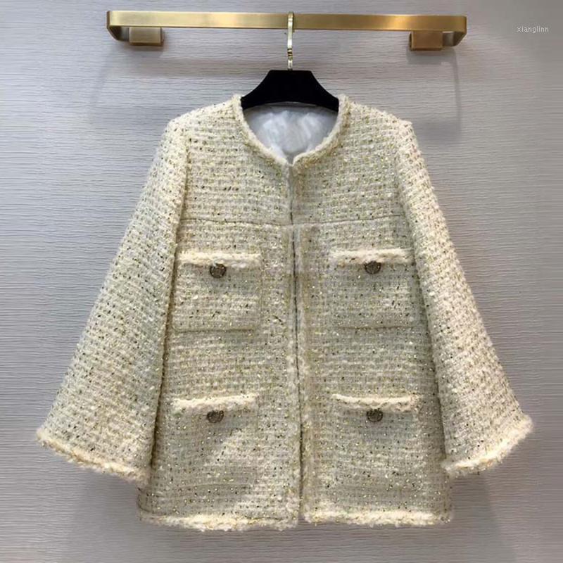 Red Roosarosee Neue Runway Designer Damen Herbst Winter Weiche Tweed Goldene Thread Buttons Mantel Mode Dame Outwear Lose Mantel1