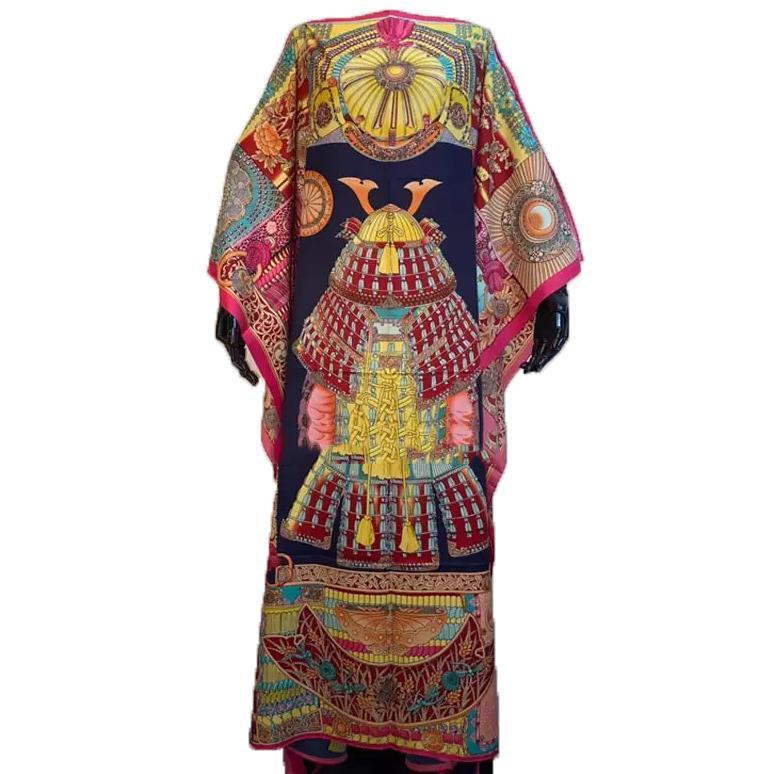 Beiläufige böhmische lange Kleider Plus Size Blumendruck lose Kaftan Partei Robes Kleider Sundress Afrikanische für Frauen