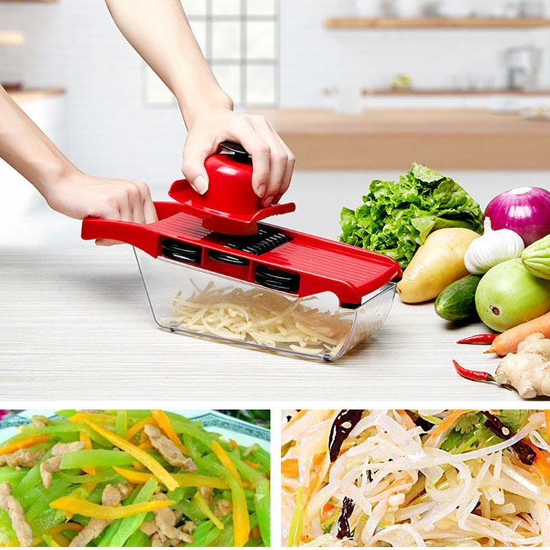 Neue Weihnachtsfeier Mandoline Slicer Gemüseschneider mit Edelstahlklinge Manual Kartoffelschäler Karotte Rater DICER AHD2748