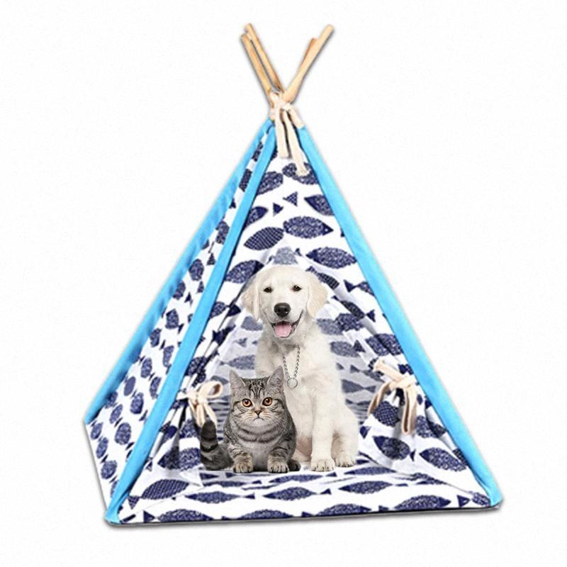 Kapalı Açık Katlanabilir Pet Çadır Köpek Yatağı Kedi Evi Kennel Yıkanabilir Pet Teepee House With Mat Ürün Malzemeleri Hediyeler HDIJ # Shed