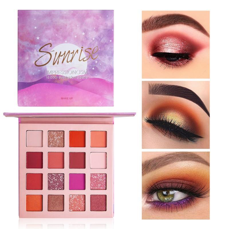 Nueva llegada de larga duración de 16 colores brillo del brillo del reflejo de la gama de colores del maquillaje mate de sombras para ojos pigmento cosmético