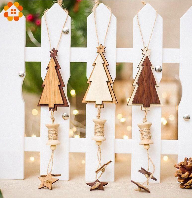 1PC DIY Noel ağacı Şekli Ahşap Yıldız Kolye Süsler Noel Partisi Noel ağacı Dekorasyon Çocuk Hediyeleri Malzemeleri VEpB # Asma