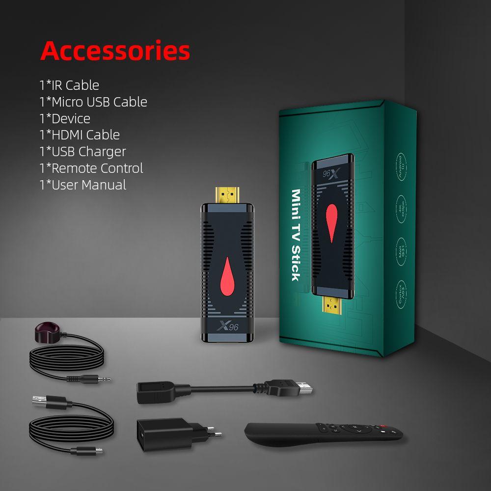 X96 S400 الروبوت 10.0 تلفزيون عصا Allwinner H313 رباعية النواة 4K 2.4G WIFI Media Player 1G 8G / 2G 16G TV Box Mini Dongle