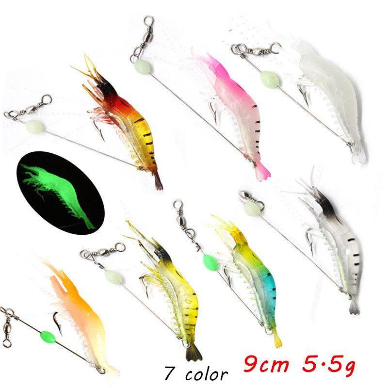 7 cores 9cm 5.5g Luminous camarão gancho de pesca ganchos de pesca faixas macias iscas pesca pesca ll-020
