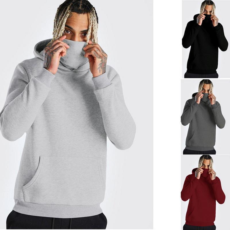 Casual Hoodie Thin Sweatshirt Long Hoodie Gym With Open-Forked Sweatshirt Tops Mens Large Mask Splice Sleeve Hooded Mask Bwpje