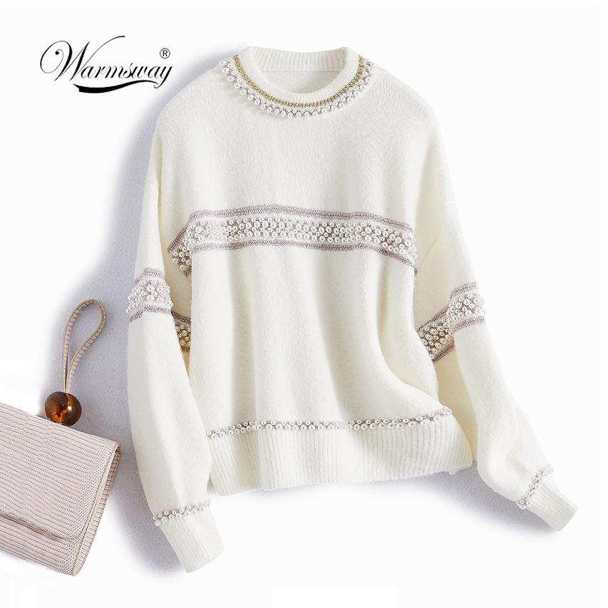 Alta Qualidade Mulher Curta Pullover Sweater Feminino Pearl Beading Quente Grosso Inverno Malha Sweater Oversized C-486 2010