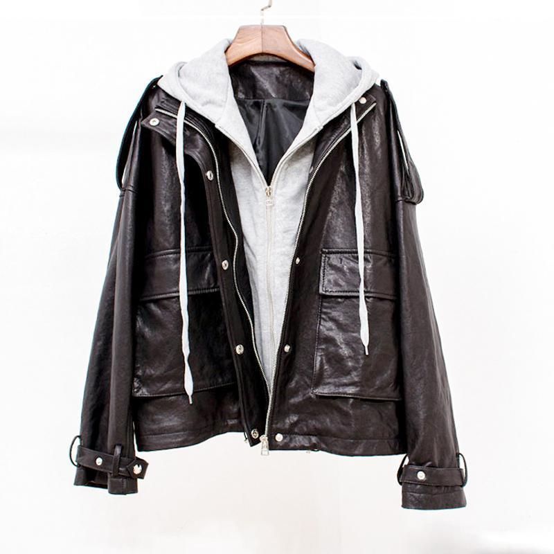 FORSE U Donne PU finta tasca della giacca di pelle nera con cappuccio outwear c0302 pulsante High Street