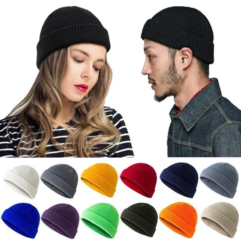 الكورية للجنسين الألوان النقية محبوك قبعة skullcap docker صياد brimless caddice كاب