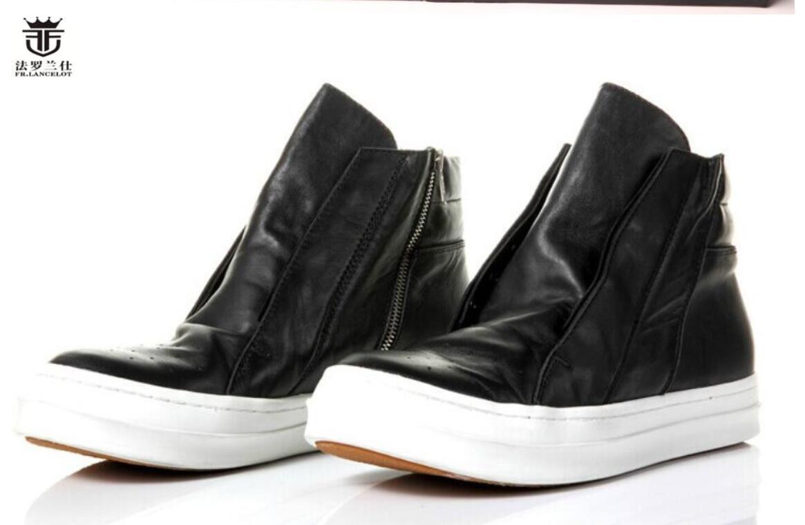 2020 Mode für Männer Boot alten Stil Leder männliche Stiefel flache starken Ferse Herren-Booties Reißverschluss weiche Arbeitsschuhe nach oben