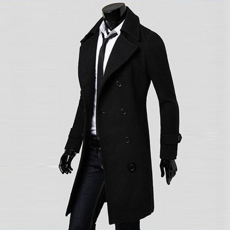 Новые мужские пальто зима тонкий стильный Trench Двойной Брестед Длинные куртки Parka BK / M качество вскользь высокой осени Mens Tops Блуза