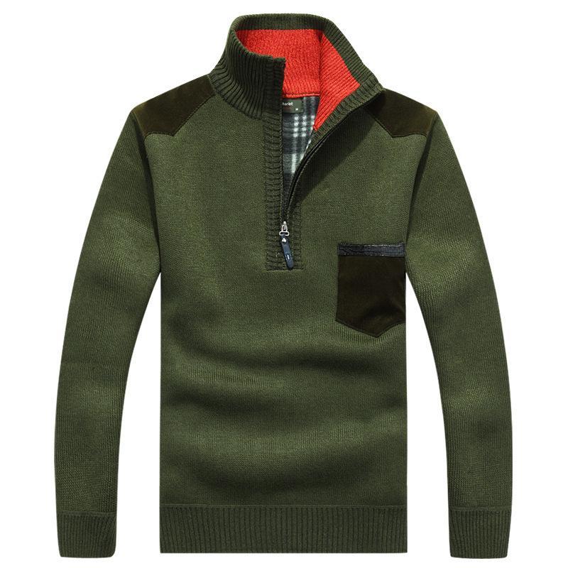 Invierno suéter de los hombres de cuello alto de cachemira con capucha cálida lana de Inglaterra estilo coreano chaqueta de la capa larga del cuello de la cremallera masculina 2020 Ropa