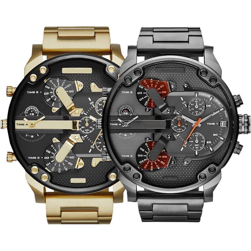 Sıcak Satış Spor Askeri Erkek Saatler 50mm Büyük Arama Altın Paslanmaz Çelik Moda İzle Erkekler Lüks Bilek İzle Reloj de Lujo