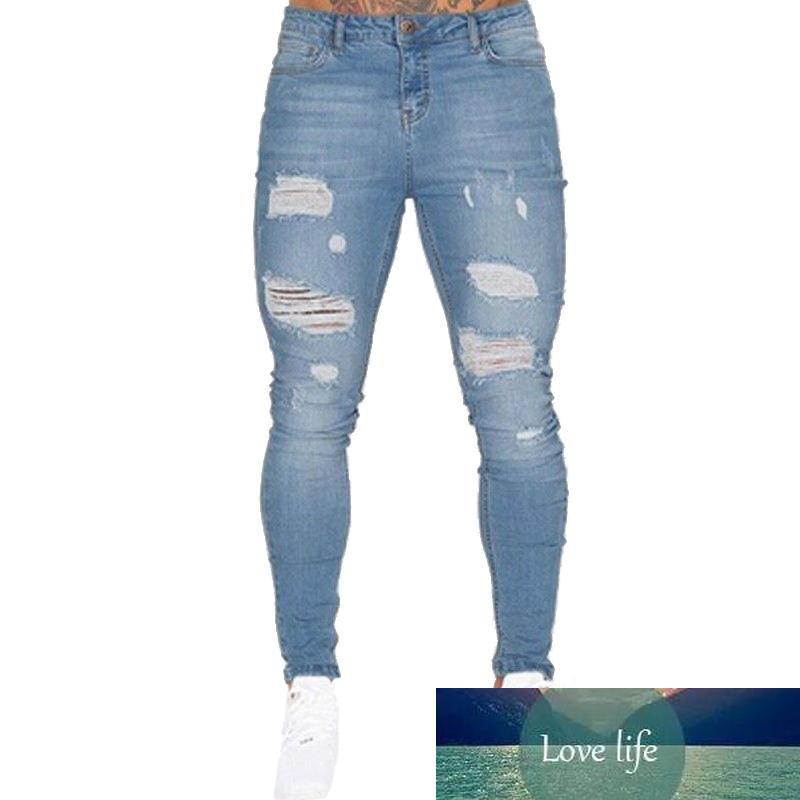 Mens Jeans Sknny Сексуальная дыра Мужчины Slim Bodycon Брюки Джинсовые брюки Homme Длинные брюки повседневные брюки разорванные джинсы