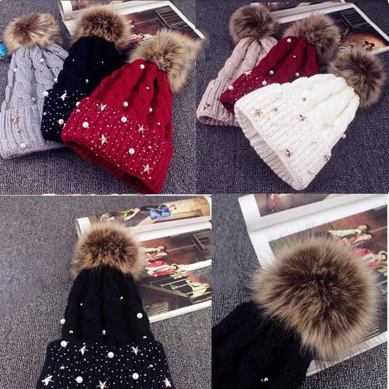 Зимний жемчужный меховой POM Теплые вязаные шляпы для женщин шапочки кости черенок шапочки шляпа сплошные вязаные зимние кепки женщины повседневные кепки