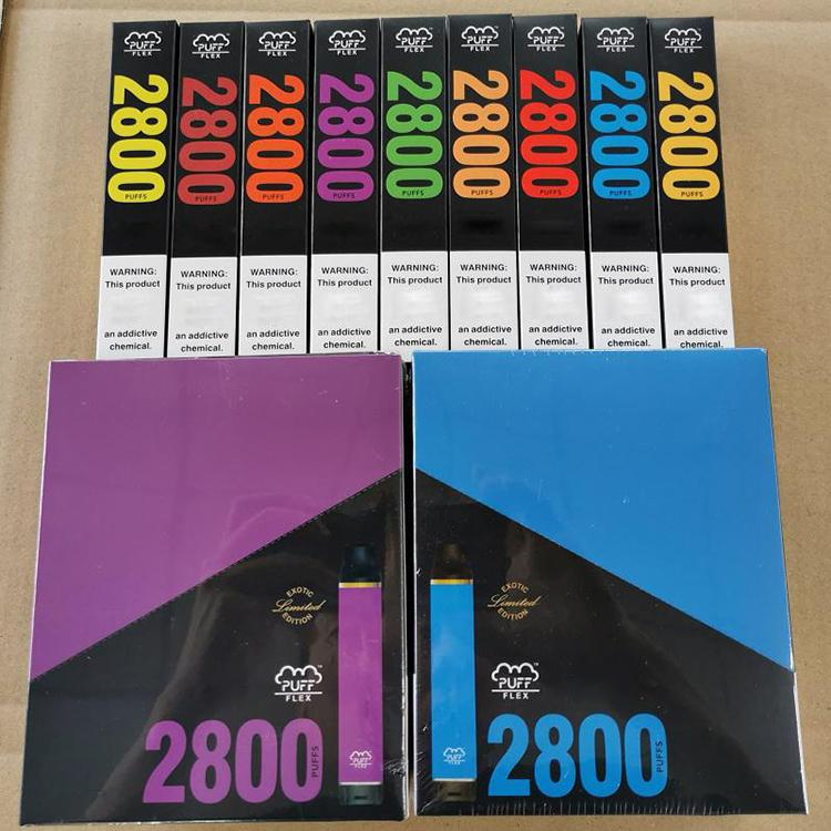 En Kaliteli Puff Flex Tek Kullanımlık Cihaz Vape Kitleri 2800 Puffs 10 ml Tercih Edilen 13 Renkler vs Akış XXL Plus Max DHL Ücretsiz
