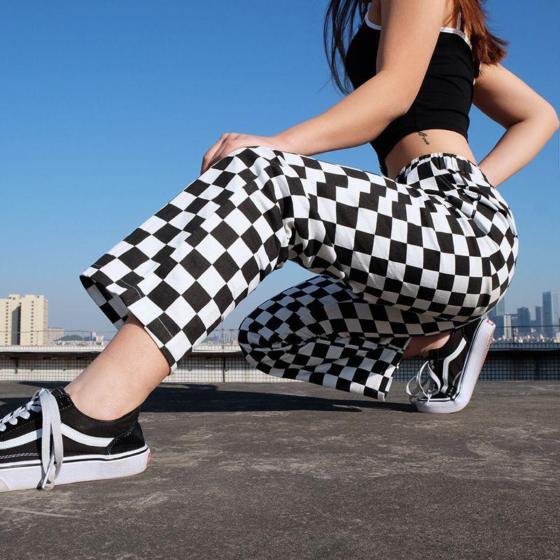 Punk xadrez de perna larga laca as mulheres Checkerboard Casual Solto Calças Longas Bottom Femme Sweatpants Hip Hop Pantalon 201109