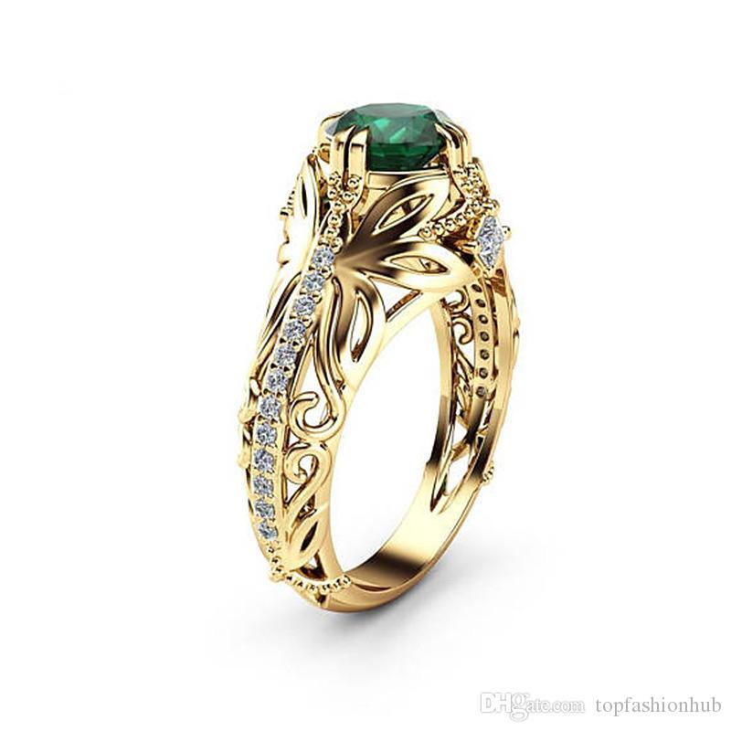 Emerald Zircon Ring Women Fashion Engagement Brass Factory price expert design Quality Latest Style Original Status