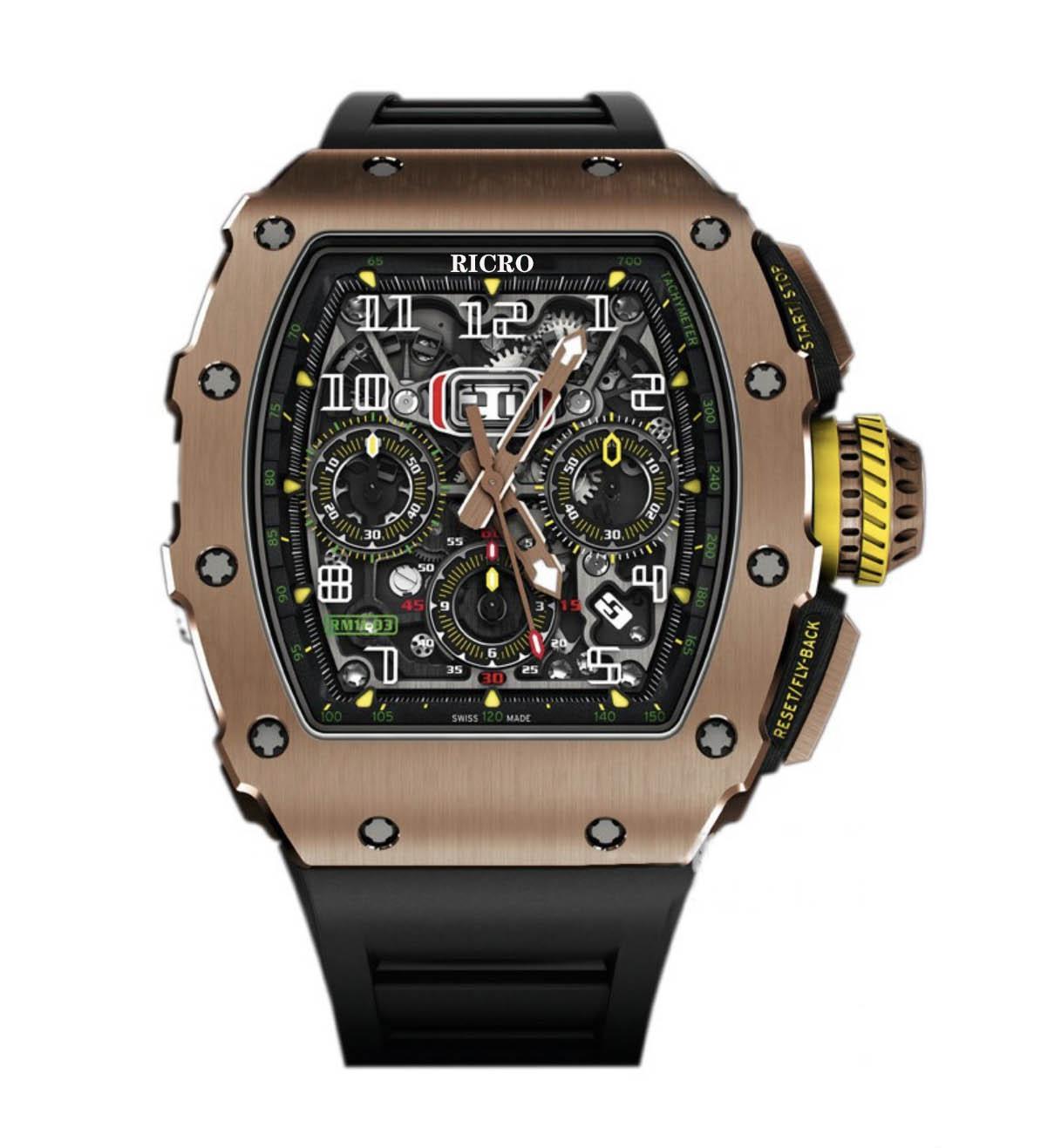 시계 RM11 남성 시계 스테인레스 스틸 케이스, 수입 고무 스트랩, 완전 자동 기계 운동, 스포츠 시계, 도매 및 소매