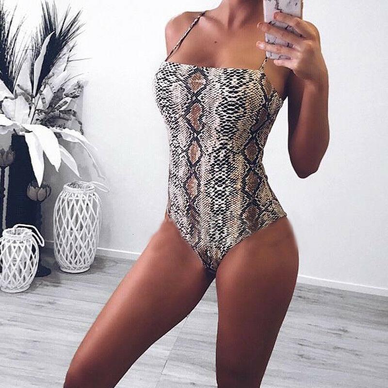 2019 Nouveau été Femmes Serpentine imprimé léopard manches Maillot de bain femme Bikini extensible Beachwear Maillots de bain Costume