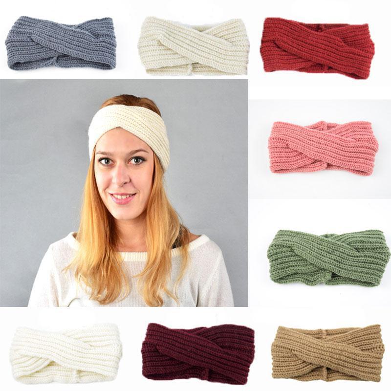 Seg 15 mujeres de los colores de las vendas de colores de punto de ganchillo Giro del oído Hairbands del calentador del invierno venda elástico del pelo Amplia Accesorios para el cabello