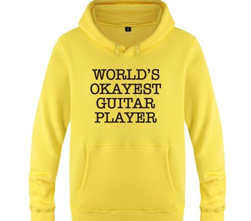 Okayest Guitar Player del mondo divertente creativo Felpe uomini 2018 Mens Hooded Fleece Pullover66