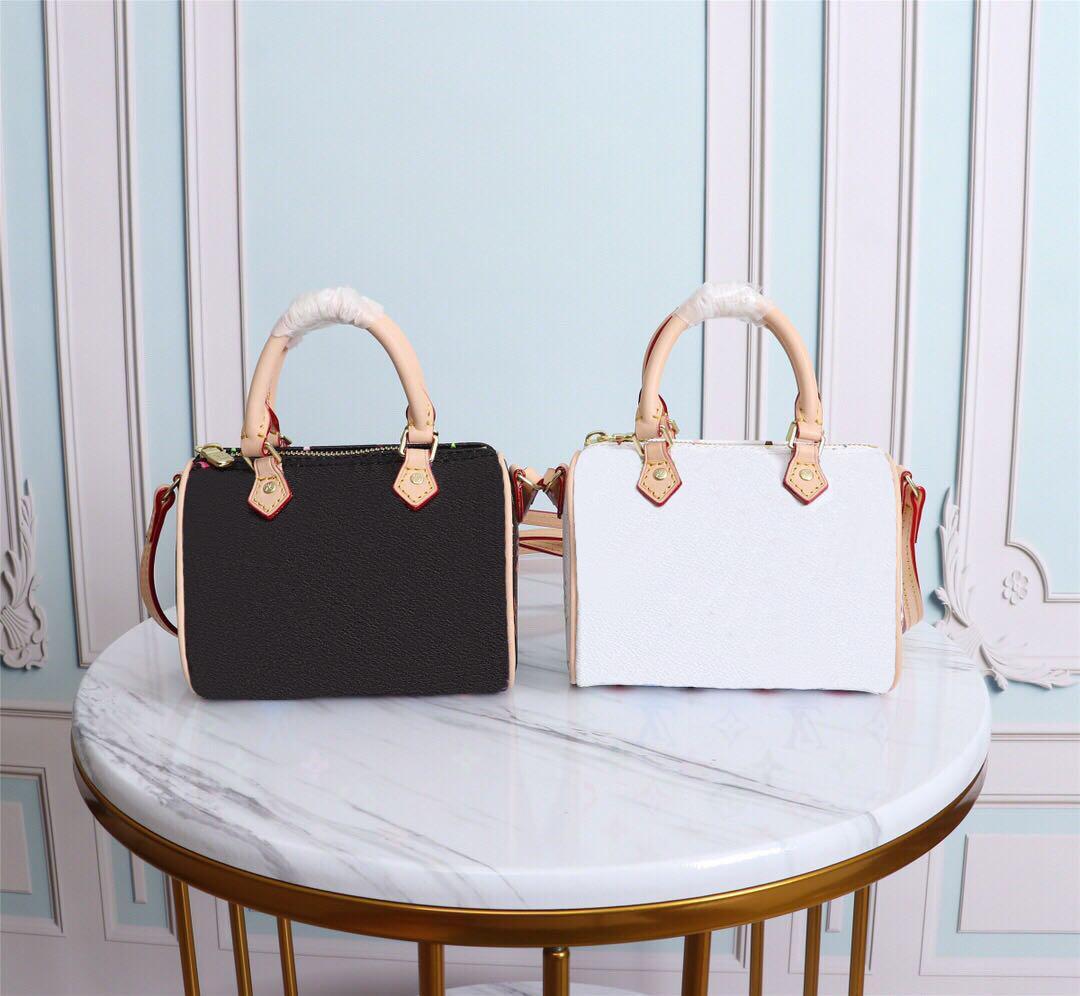 2020 الساخن الأصل عالية الجودة مصمم حقيبة NANO سريع حقائب جلد طبيعي أبيض وأسود حقيبة لون لون الكتف crossbodys حقيبة صغيرة