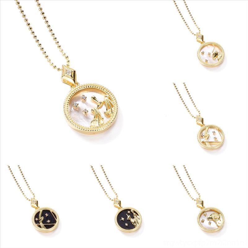 GXXGK pour design Résine Stone S925 Druzy Stone Christmas Collier Colliers Couleurs Gold Plated Filles Collier Douze constellations Pendentif