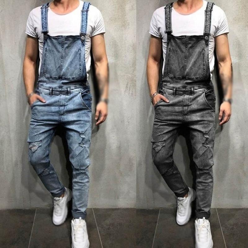 Pantalones vaqueros de estiramiento Pantalones salvajes Streetwear Hombres Jeans casuales Denim Jean Jumpsuit Rampers One Piece Traje Retro Hombres Bolsillo