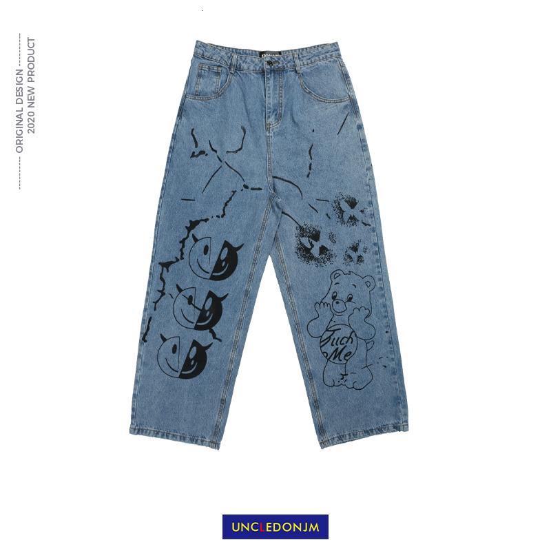 Uncledonjm dos desenhos animados Graffiti Homens Ins Rua Hip-hop Popular Marca solto calças perna larga Denim Calças Jeans Mens Ad-2039