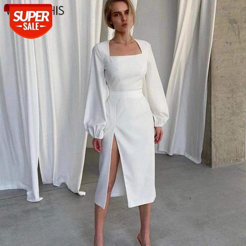 Wannathis kadın Elbise Uzun Kollu Fener Kol Sonbahar Seksi Bodycon Zarif Parti Hem Bölünmüş Elbise Kadın Moda Streetwear # A18R