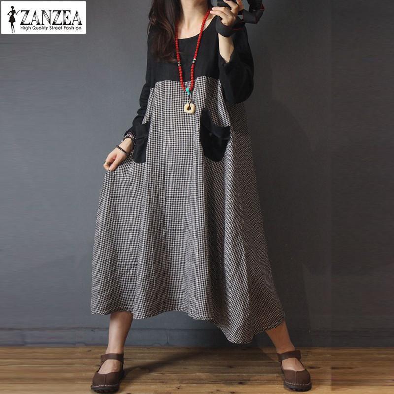 ZANZEA Women Autumn Plaid Dresses Casaul Long Sleeve Patchwork Baggy Maxi Dress Female Robe Kaftans Vintage Vestidos Plus Size