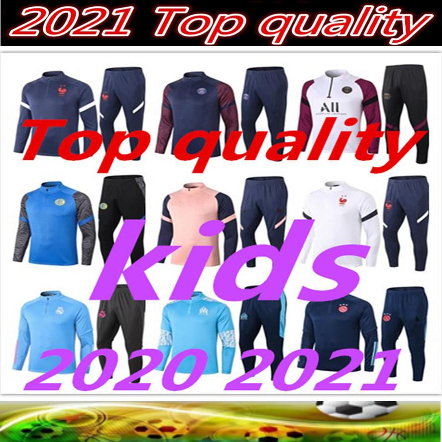 2021 Kids Football Kits 2020 2021 كرة القدم جيرسي التدريب الفتيان رياضية ريال مدريد كيت تشاندال survetement القدم fc برشلونة أجاكس الركض