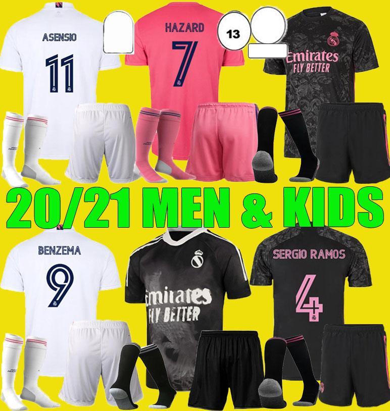 Men Kids Real Madrid 2020 2021 Футбол Джерси Четвертая опасность Asensio Sergio Ramos 4-я Наборы 20 21 Вещих футбол Футбола Benzema Униформа Униформа