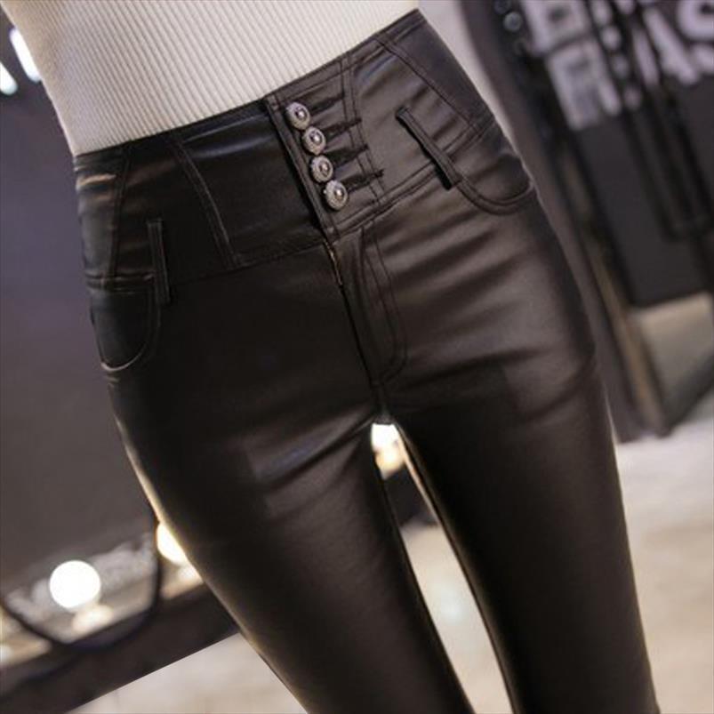 Skinny Femmes Femmes Pantalons Drop Shipping Femme Pu cuir Velvet Pantalons de velours Elastic Pantalon maigre Pantalon Femme Femme Pantalon serré 812E