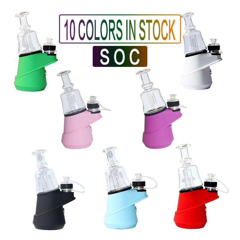 Authentische Neueste Vision-SOC Temp Control-Wachs-Konzentrat Öl ENail Dry Herb Vaporizer 2600mAh Glas Wasser Dab Rig Bubbler E Nail Kit