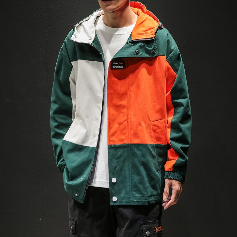 Designer patchwork à capuche à capuche pour hommes 2020 Automne Vêtements de mode Plus Taille Randonnée Vêtements de dessus Harajuku Streetwear Windbreaker LJ201013