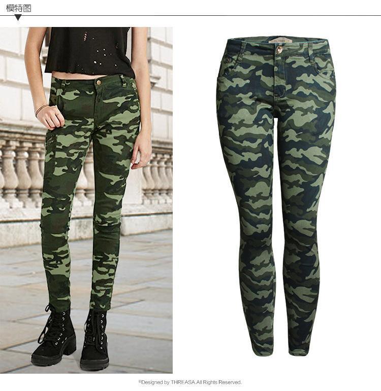 Pantalones vaqueros de mujer Moda Cintura baja Mujer Skinny Denim Ladies Estiramiento Camuflaje Pantalones Pantalones Lápiz 5XL