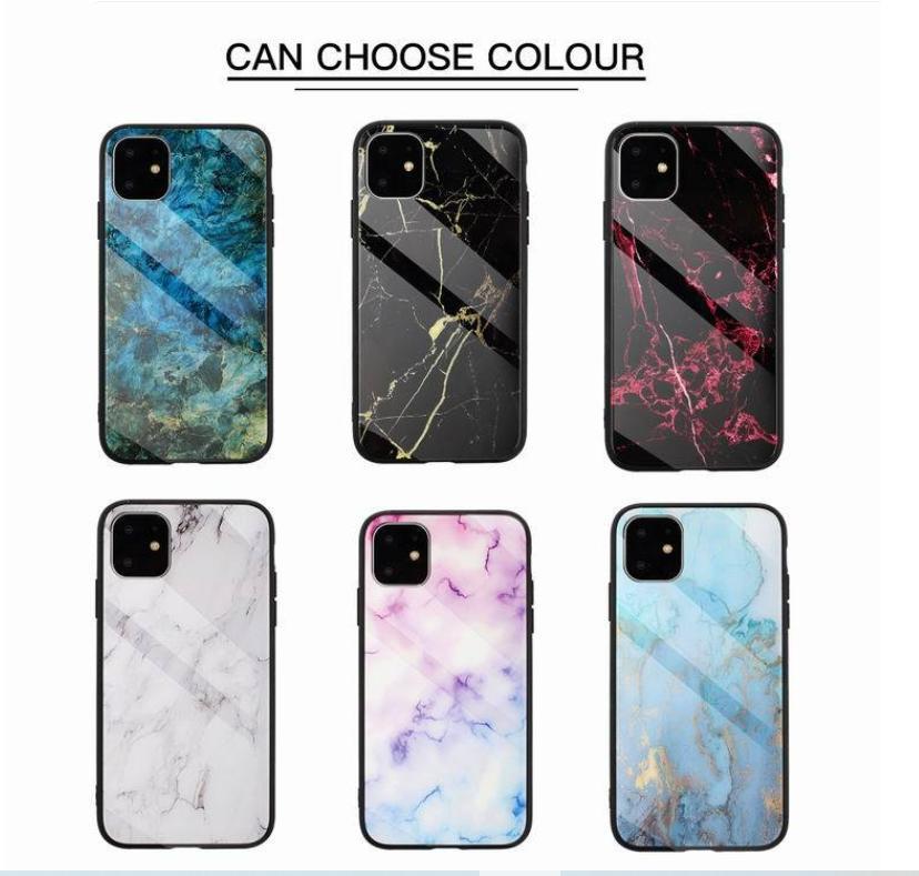 Real de vidro temperado Hard Case para Iphone 12 2020 11 Pro XS MAX XR X 8 7 6 Plus macio TPU Marble Natural Granito Pedra Rocha híbrido tampa do telefone